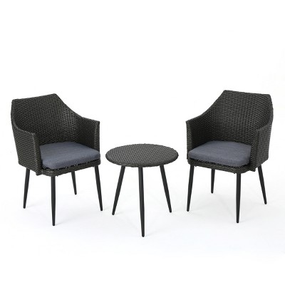 Iona 3pc Wicker Chat Set - Gray/Mixed Black - Christopher Knight Home