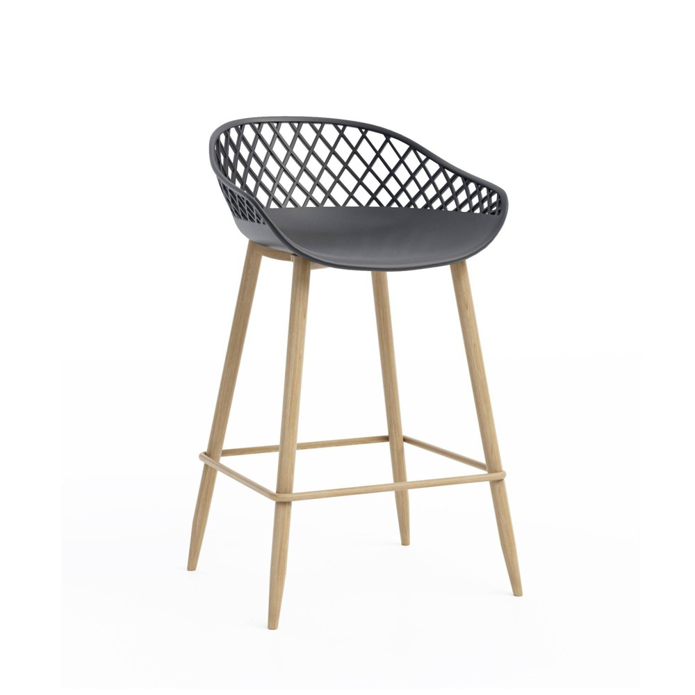 Image of Set of 2 Kurv Counter Stool Black/Natural - Jamesdar