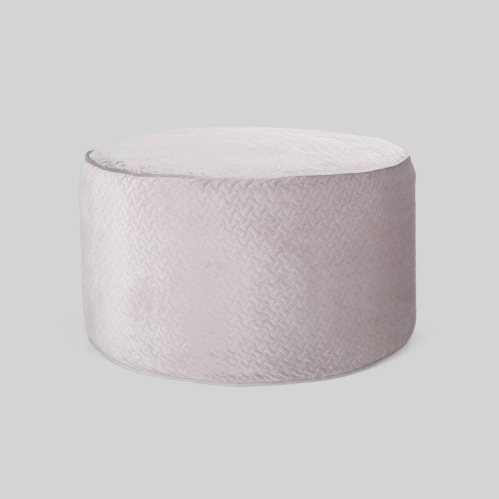 Image of 4'' Arnside Glam Velvet Quilt Pattern Beanbag Silver - Christopher Knight Home