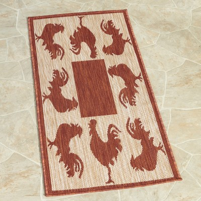 Lakeside Farmhouse Runner Throw Rug with Red Rooster Accents