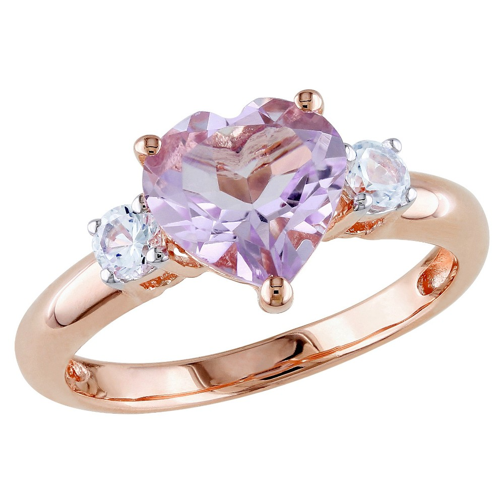1.65 CT. T.W. Rose de France and .3 CT. T.W. White Sapphire Ring in Pink Rhodium Plated Silver - 7 - Purple