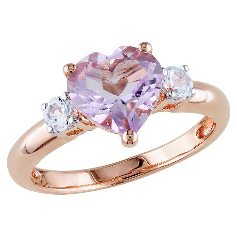 1.65 CT. T.W. Rose de France and .3 CT. T.W. White Sapphire Ring in Pink Rhodium Plated Silver - image 1 of 3
