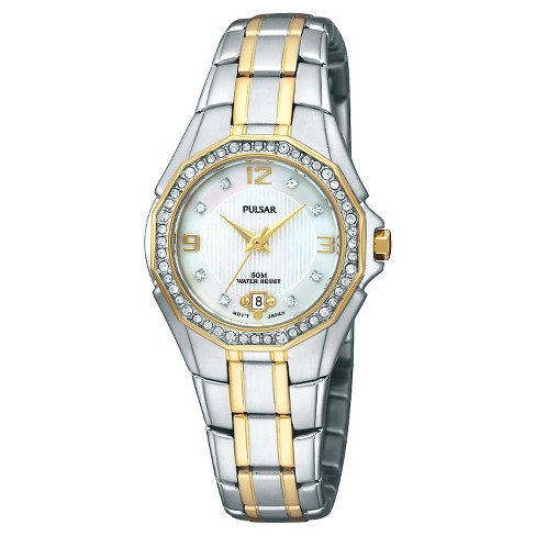 Women's Pulsar Crystal Bezel Dress Watch - Two Tone with Mother Of Pearl Dial - PXT798 - image 1 of 1
