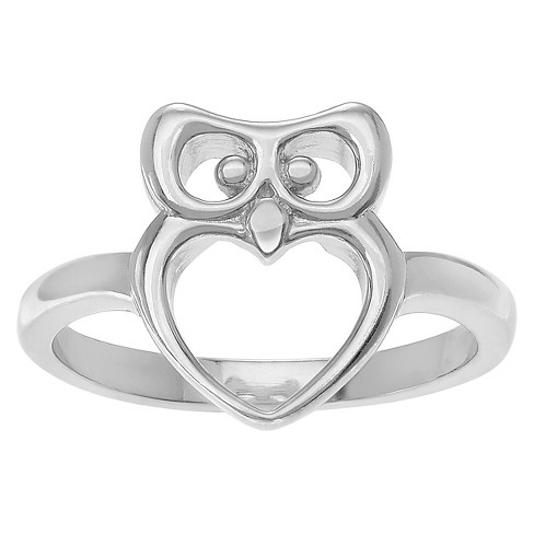 Women's Journee Collection Owl Ring in Sterling Silver - Silver, 5 - image 1 of 2
