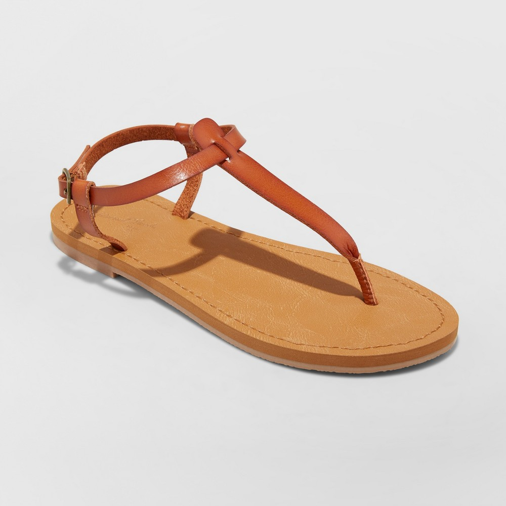 Women's Hartley T Strap Thong Sandals - Universal Thread Cognac (Red) 6.5