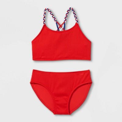 Girls' Ribbed 2pc Bikini Set - art class™ Red