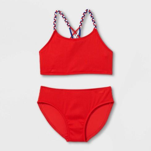 Girls' Ribbed 2pc Bikini Set - art class™ Red - image 1 of 2