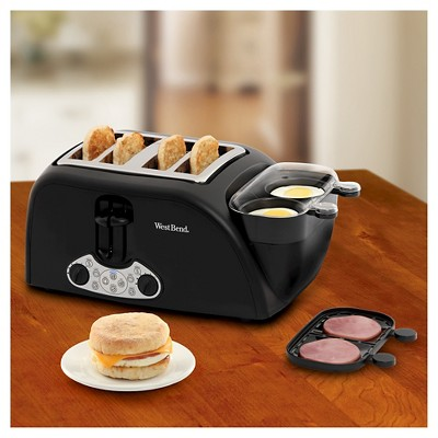 West Bend Egg & Muffin Toaster 4-Slice, Silver Black