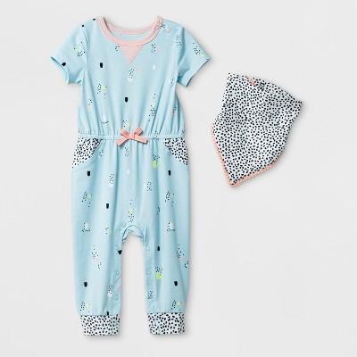 Baby Girls' Romper with Bib - Cat & Jack™ Light Blue Baby