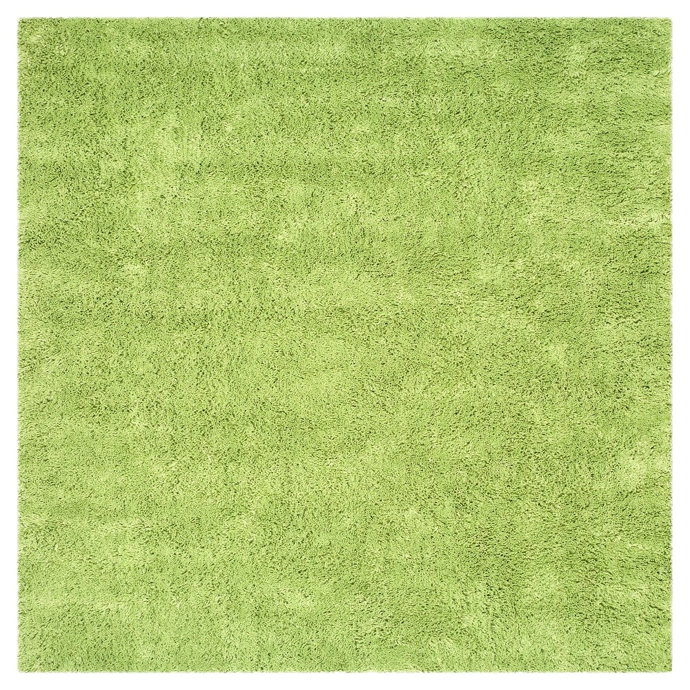 Lime Green Solid Tufted Square Area Rug 7x7 Safavieh