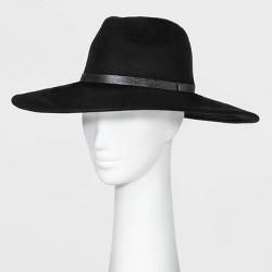 Women's Wide Down Brim Fedora Hat - A New Day™ Black One Size