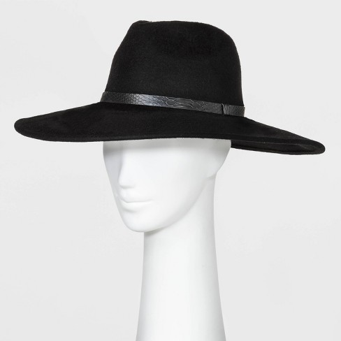 Women's Wide Down Brim Felt Fedora Hat - A New Day™ Black One Size - image 1 of 2