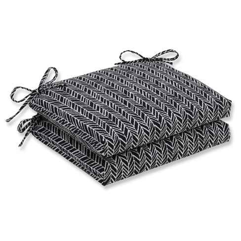 Outdoor/Indoor Herringbone Night Squared Corners Seat Cushion Set of 2 - Pillow Perfect - image 1 of 1