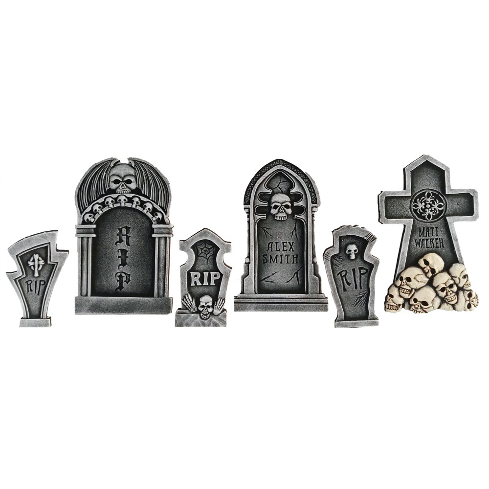 19 6pc Halloween Tombstone And Skulls Kit, Multi-Colored