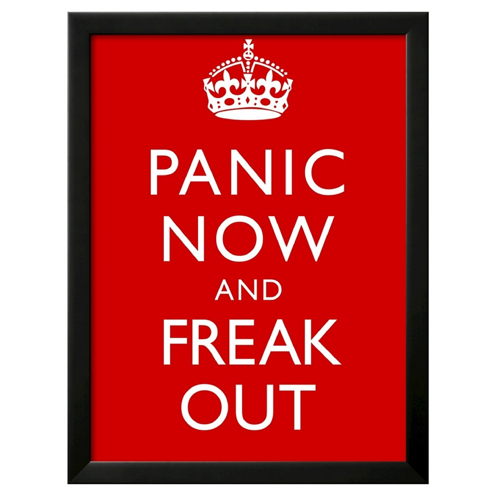 Image of Art.com Panic Now And Freak Out Keep Calm Inspired Print Poster - Framed Art Print, Black