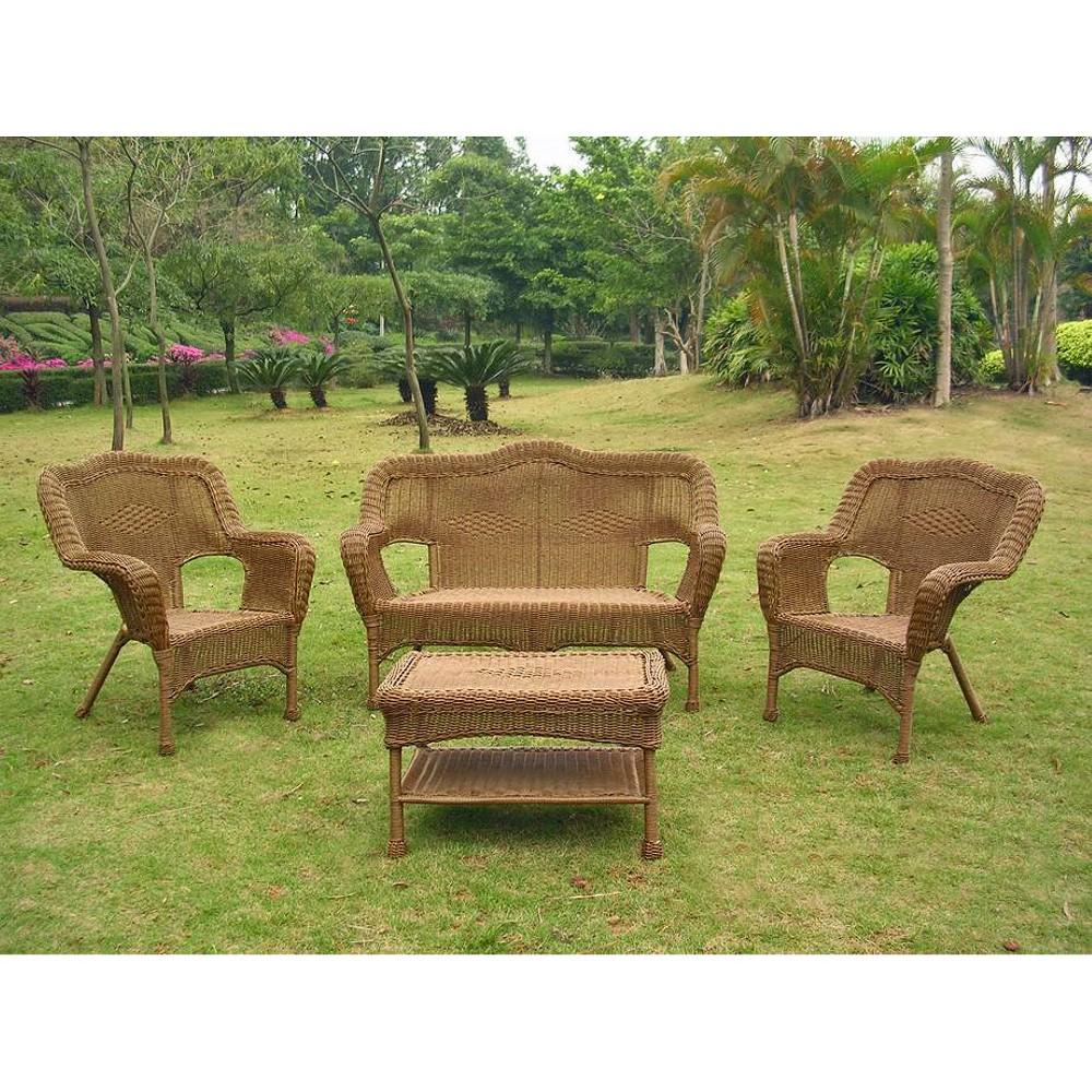 Image of International Caravan Chelsea 4-Piece Wicker Conversation Furniture Set, Brown