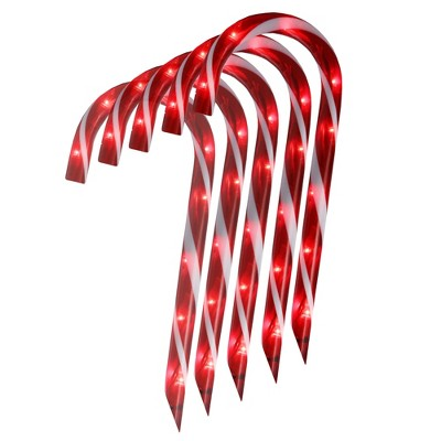 """Northlight Set of 10 Red Lighted Outdoor Candy Cane Christmas Lawn Stakes 12"""""""