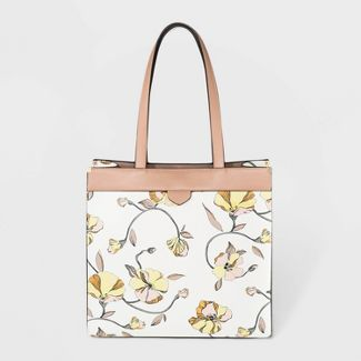 Floral Print Boxy Tote Handbag - A New Day™ White