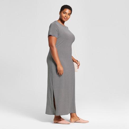 96c561372c41a Women's Plus Size Striped T-Shirt Maxi Dress - Ava & Viv™ Black 1X : Target