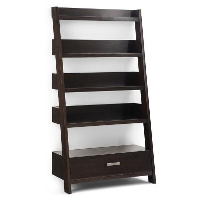 """60"""" Harriet Solid Wood Ladder Shelf Dark Chestnut Brown - WyndenHall"""