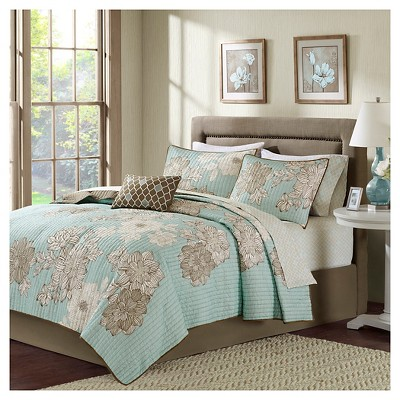 Blue Cornell Complete Multiple Piece Coverlet Set (King)- 8-pc