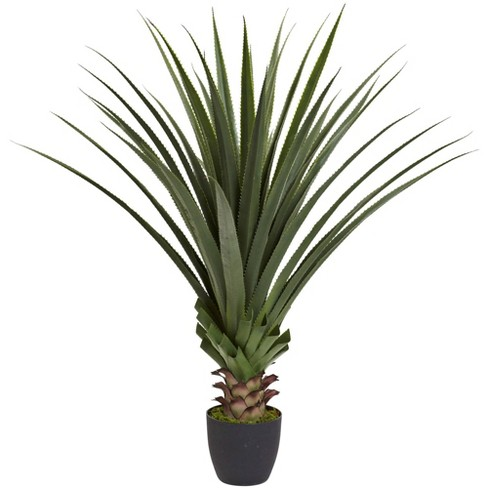 4ft Artificial Spiked Agave Plant in Pot Green - Nearly Natural - image 1 of 4