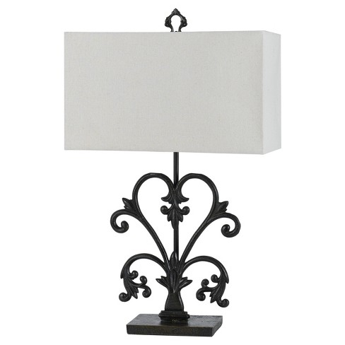 Way Murcia Cast Iron Table Lamp With Hardback Burlap Shade 150w 3
