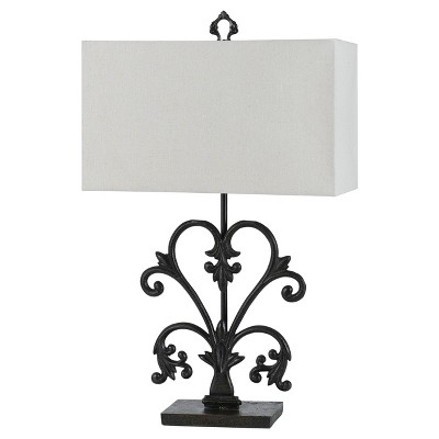 Way Murcia Cast Iron Table Lamp With Hardback Burlap Shade 150w 3 Black