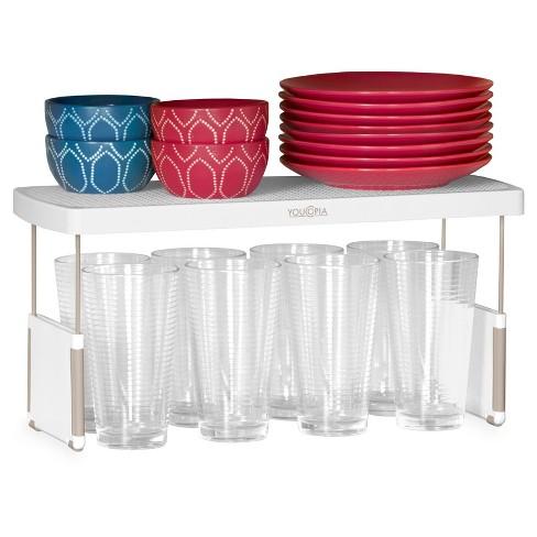 Kitchen Cabinet Organizer Adjustable Shelf Riser 17 3 White Youcopia