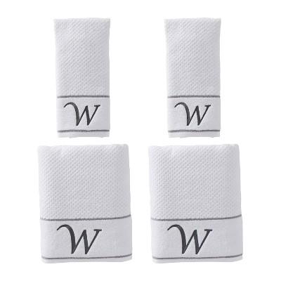 "4pc ""W"" Monogram Bath/Hand Towel Set White - SKL Home"