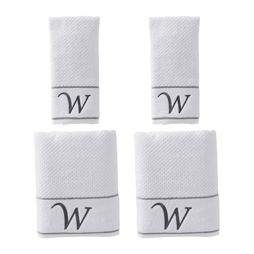 "Image of ""4pc """"W"""" Monogram Bath/Hand Towel Set White - SKL Home"""