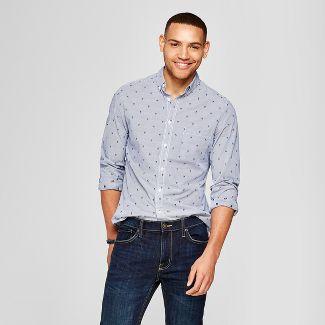 201d9db139 Men s Slim Fit Northrop Long Sleeve Button-Down Shirt - Goodfellow   Co™  Dark