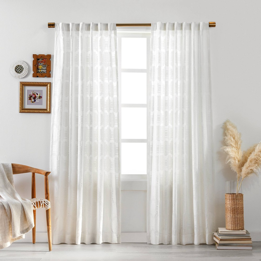 "Best 63""x50"" Larache Clipped Light Filtering Curtain Panel White - Opalhouse™"