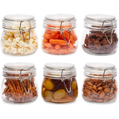 Juvale 6 Pack Airtight Glass Canisters with Lid, Food Storage Containers (4.3 x 4.3 x 4.1 in, 17 oz)