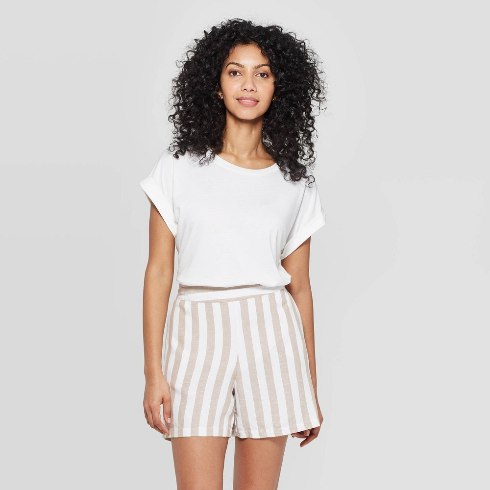 Women's Slim Fit Short Sleeve Crewneck T-Shirt - A New Day White M