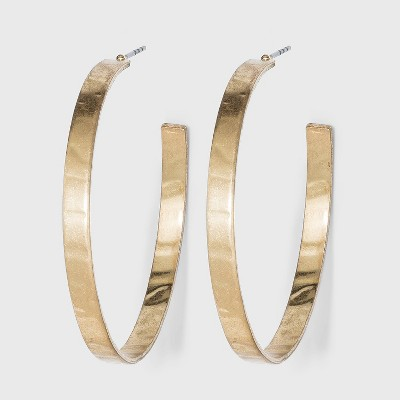 Large Worn Metal Hammered Hoop Earrings - A New Day™