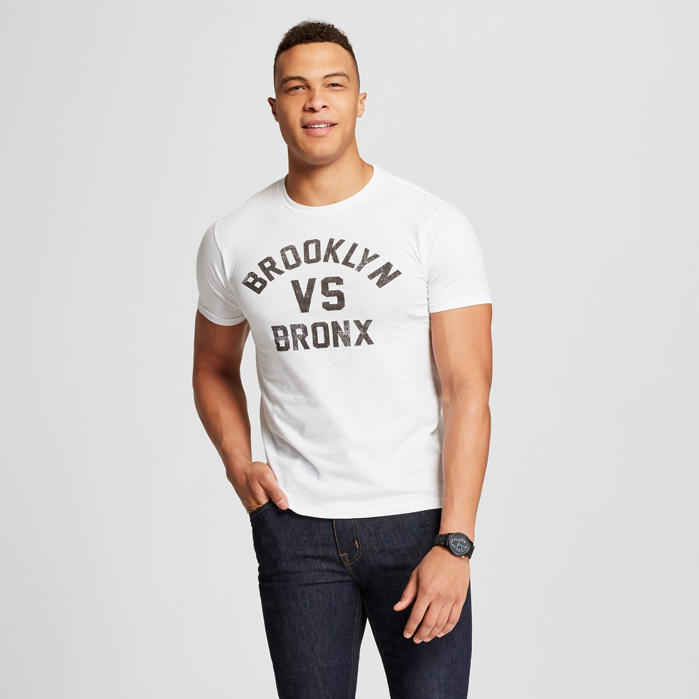 Men's New York Brooklyn vs. Bronx Short Sleeve Crew Neck T-Shirt - Awake - White M