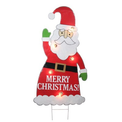 Roman 3' Red and White Lighted Santa Claus Merry Christmas Outdoor Decoration