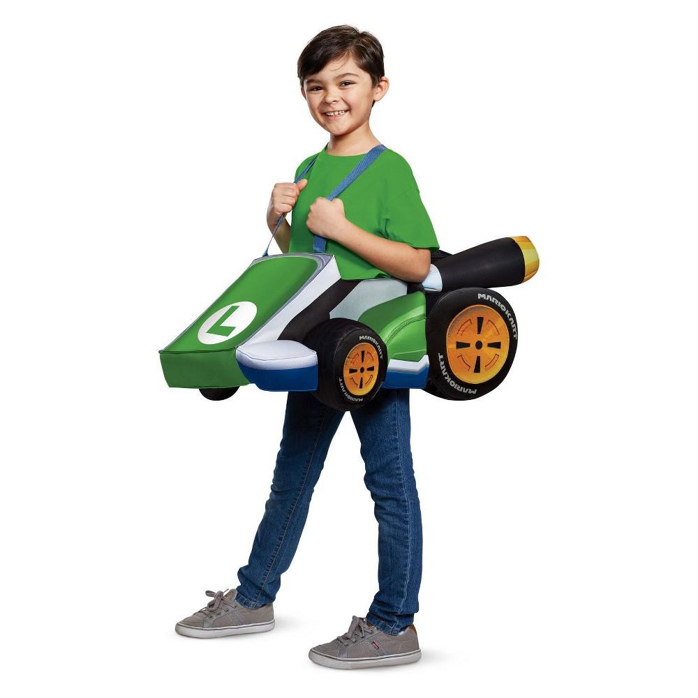 Image of Halloween Kids' Super Mario Bros. Luigi Kart Halloween Costume, Men's, Size: One Size, MultiColored