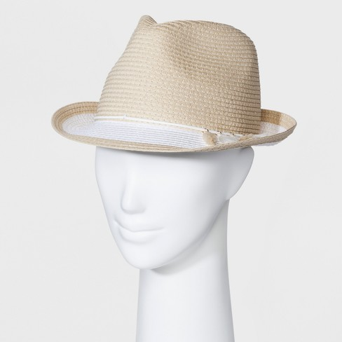 Women's Color Block Tassel Fedora - A New Day™ Light Tan - image 1 of 1