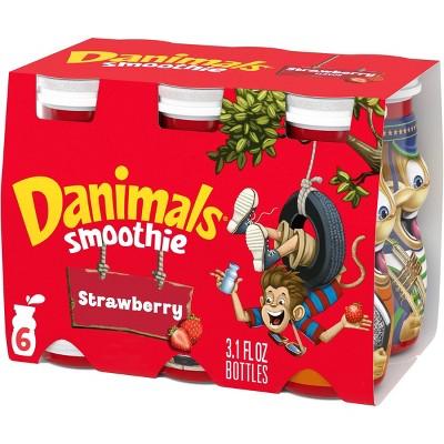 Dannon Danimals Strawberry Yogurt Kids' Smoothie Drinks - 6pk/3.1 fl oz bottles
