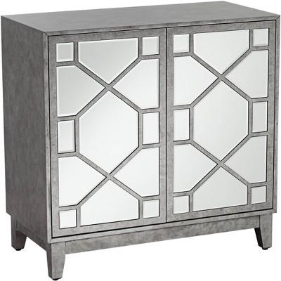 """Adana 35"""" Wide 2-Door Gray Mirrored Cabinet by Studio 55D"""