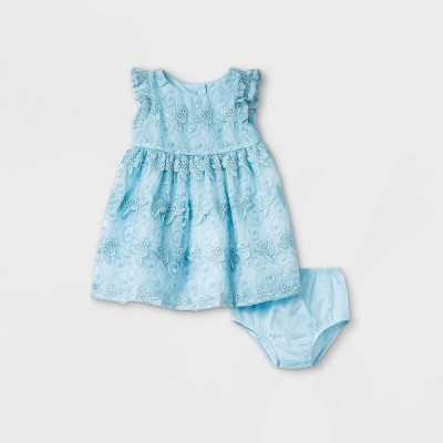 Mia & Mimi Baby Girls' Embroidered Dress - Blue