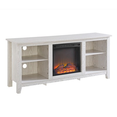 """Wood Console with Fireplace TV Stand for TV's up to 65"""" White Wash - Saracina Home"""