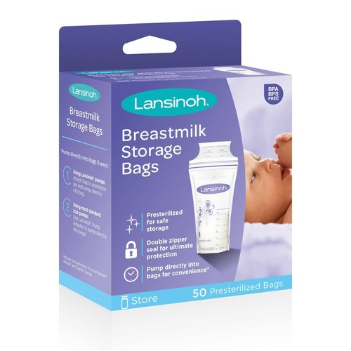 Lansinoh Milk Storage Bag, 6oz (50ct), White