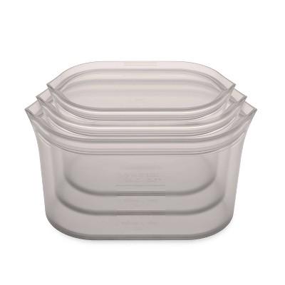 Zip Top Reusable 100% Platinum Silicone Container - 3 Dish Set (S/M/L)- Gray