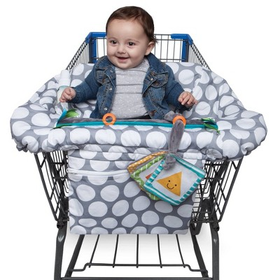 Boppy Preferred Shopping Cart and Restaurant High Chair Cover - Gray Jumbo Dots