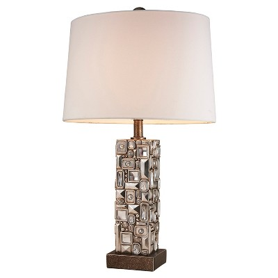 """28"""" Antique Polyresin Table Lamp with Etched Base (Includes CFL Light Bulb) Brown - Ore International"""