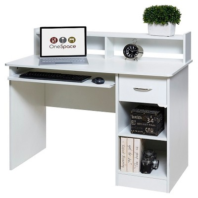 OneSpace 50-LD0101 Essential Computer Desk, Hutch, Pull-Out Keyboard, White