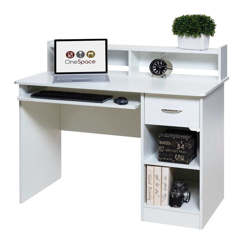 Image of OneSpace 50-LD0101 Essential Computer Desk, Hutch, Pull-Out Keyboard, White